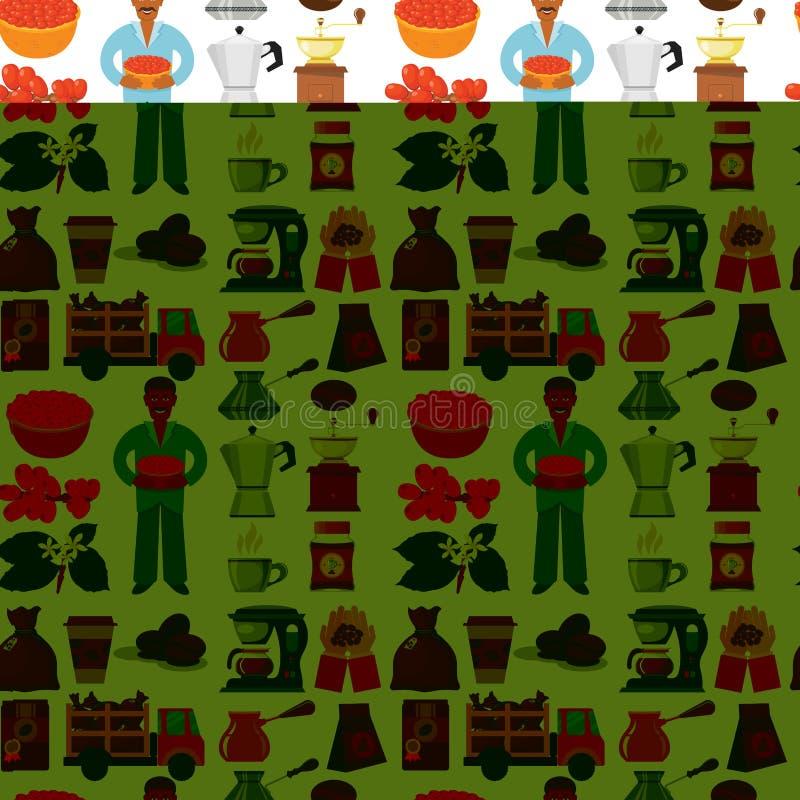 Kawowej plantaci wektorowe fasole produkcje i transport fasoli cukiernianej kawy espresso bezszwowy deseniowy tło ilustracji