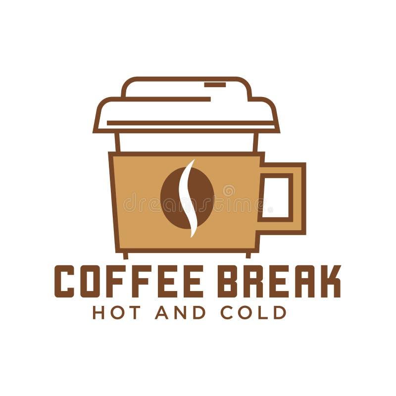 Kawowej przerwy kawiarnia z gorącym i zimnem pije emblemat ilustracja wektor