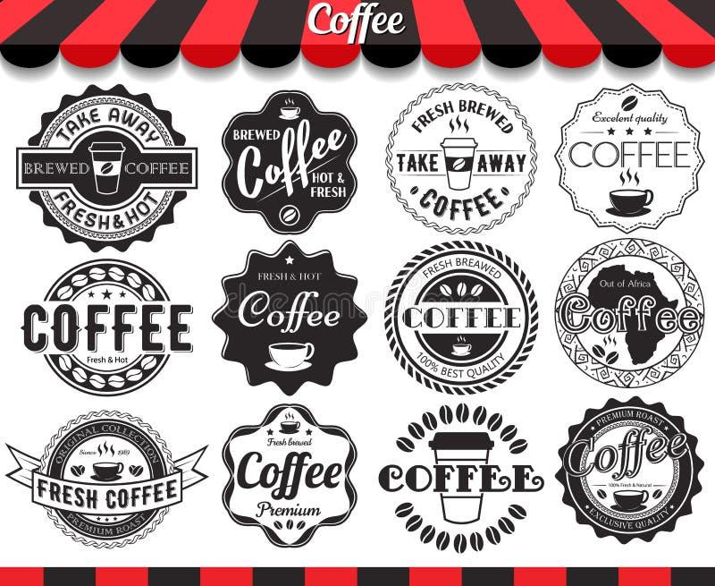 Kawowi elementy, ramy, etykietki i odznaki, royalty ilustracja