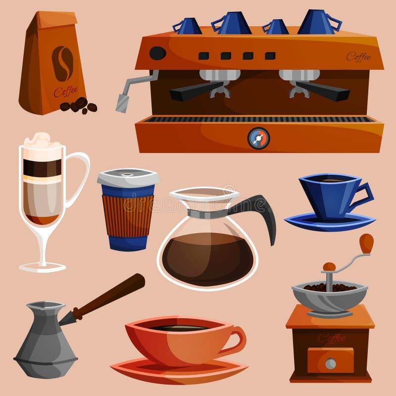 Kawowi elementy ustawiający ilustracji