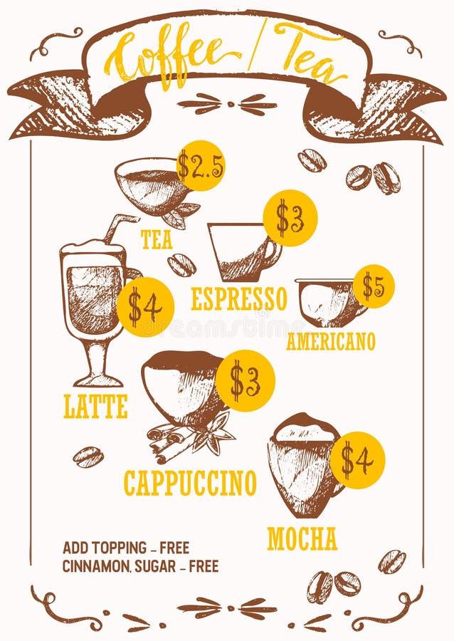 Kawowi napoju atramentu pióra wektoru nakreślenia odizolowywający na białym tle Kawa espresso, czekolada z mokką, kakao, american ilustracja wektor