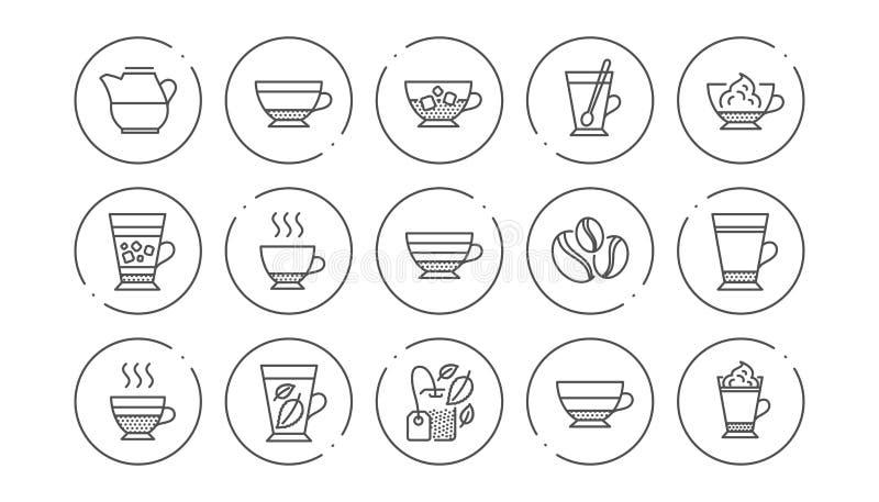 Kawowi typ i Herbaciane ikony Mokka, Cappuccino i Latte, Liniowy ikona set wektor royalty ilustracja