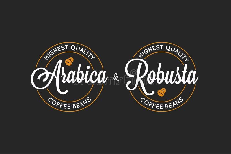 Kawowy Arabica i Robusta logo na czarnym tle royalty ilustracja