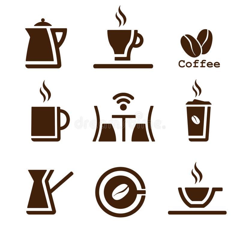 Kawowy brązu set ilustracja wektor