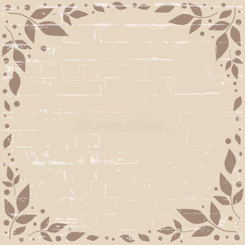 Kawowy brown tło z teksturą i dekoracyjną ramą brąz opuszcza w formie okrąg i kropki ilustracji