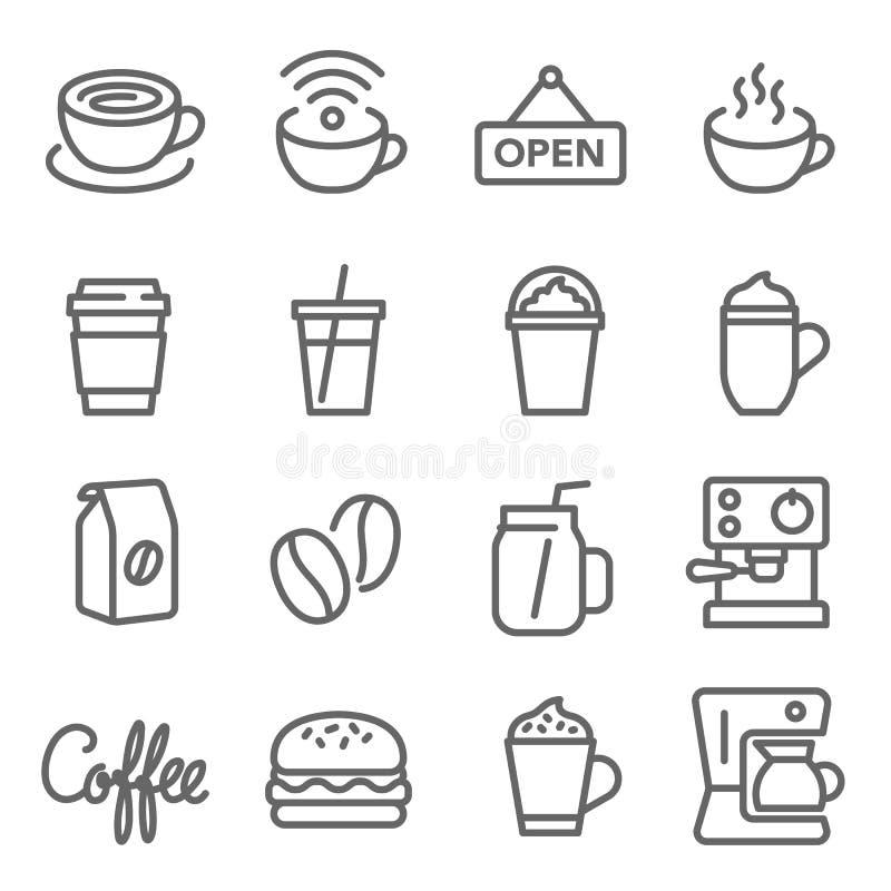 Kawowy Cukierniany wektor linii ikony set Zawiera taki ikony jak Gorącą kawę, ฺBeans, Kawową maszynę, hamburger i więcej, Rozpr ilustracji