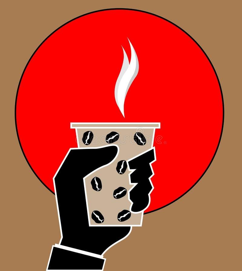 Kawowy czas, kawowa przerwa Odosobniona kreskówka Ręka trzyma filiżankę gorący napój Mężczyzna ręki papieru filiżanki Latte Ameri royalty ilustracja