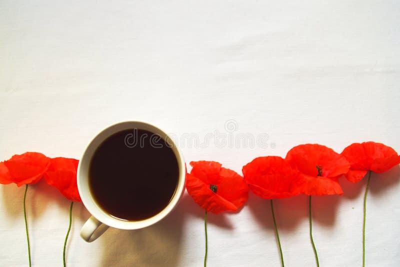 Kawowy czas Z Czerwonymi maczkami obraz royalty free