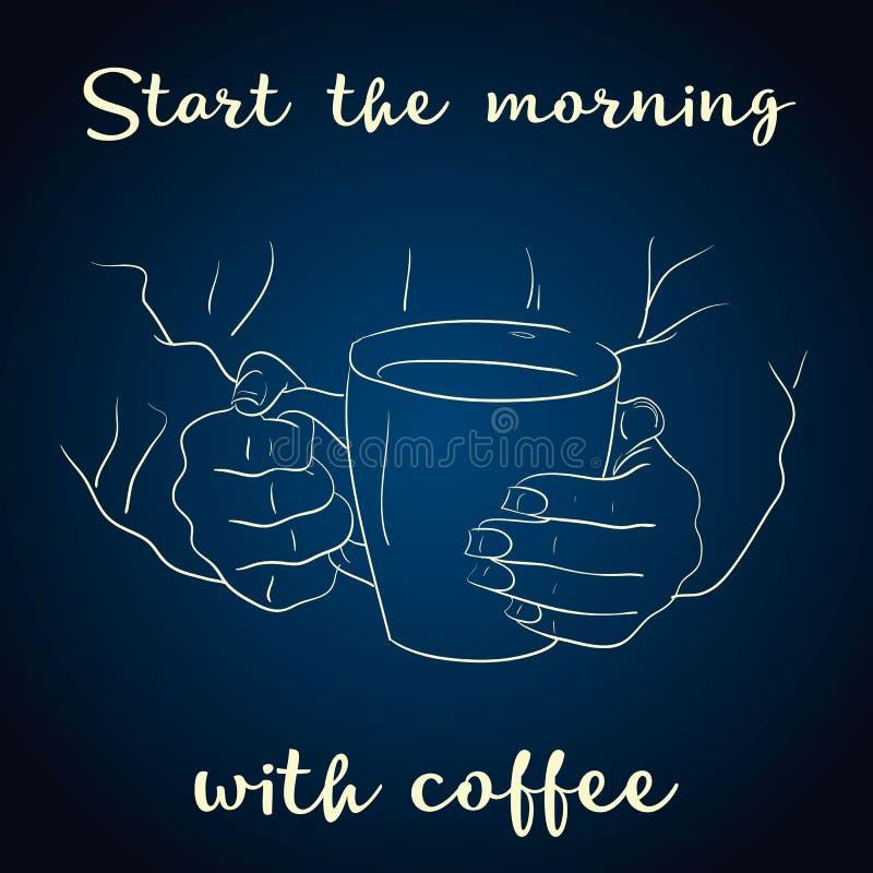 Kawowy czasu plakata pojęcie Kawy kartka z pozdrowieniami partyjny projekt Ręka rysująca ilustracja trzyma filiżankę ręka Ręka ry royalty ilustracja