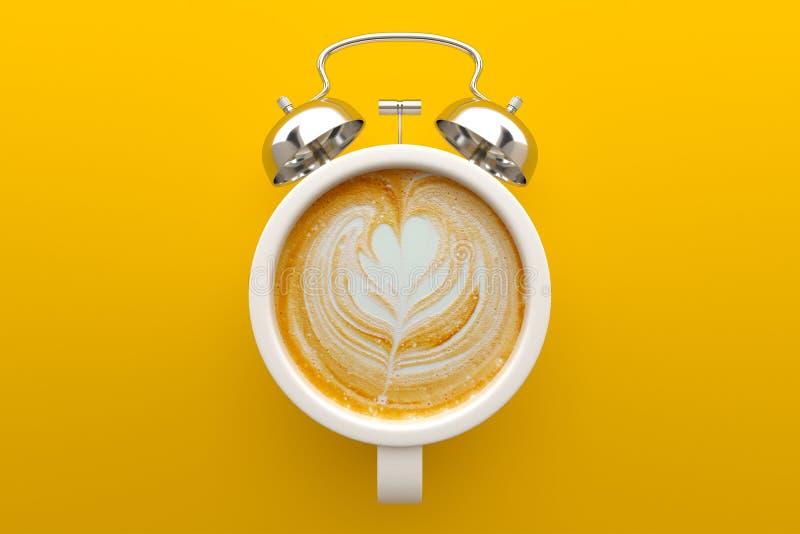 Kawowy czasu pojęcie, Latte sztuka ilustracja wektor