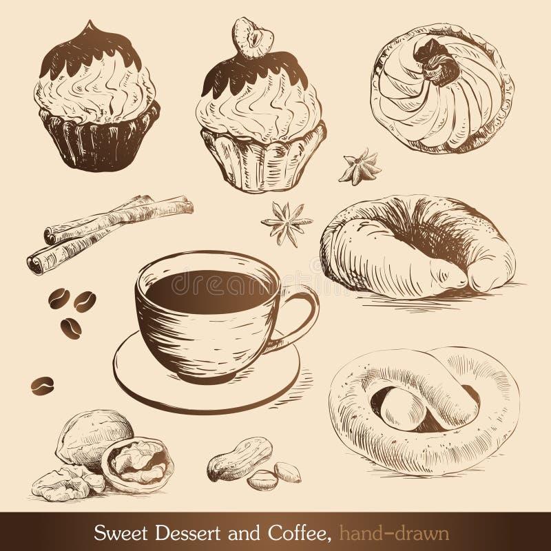 kawowy deserowy cukierki ilustracji