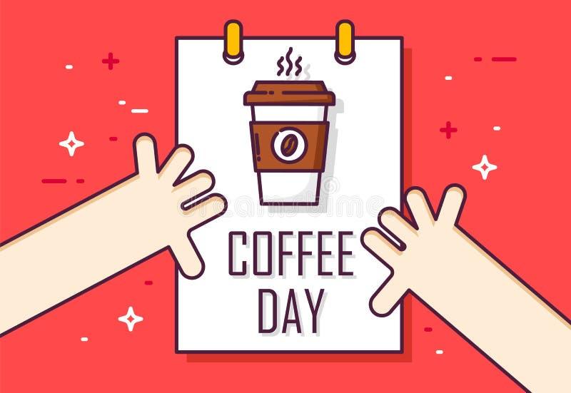 Kawowy dnia plakat z kalendarzem i ręki na czerwonym tle Cienki kreskowy płaski projekt wektor ilustracja wektor
