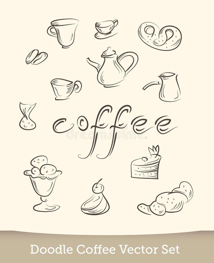Kawowy doodle ustawiający odizolowywającym na białym tle r?wnie? zwr?ci? corel ilustracji wektora ilustracja wektor