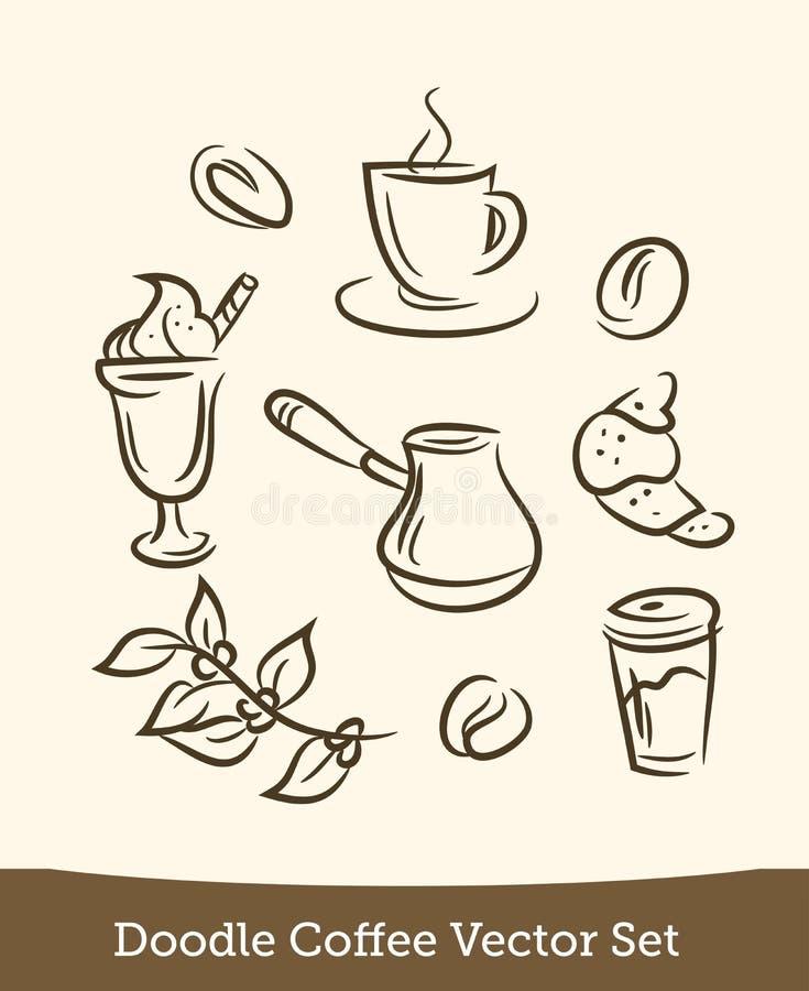 Kawowy doodle ustawiający odizolowywającym na białym tle r?wnie? zwr?ci? corel ilustracji wektora ilustracji