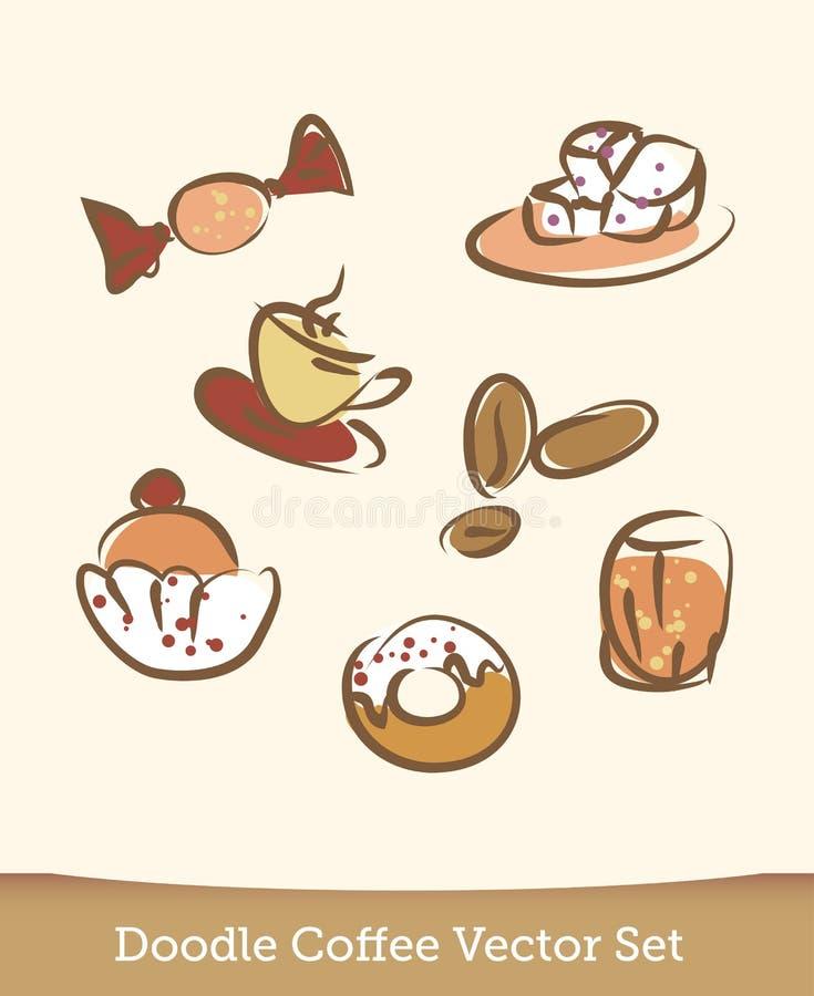 Kawowy doodle ustawiający odizolowywającym na białym tle wektor royalty ilustracja