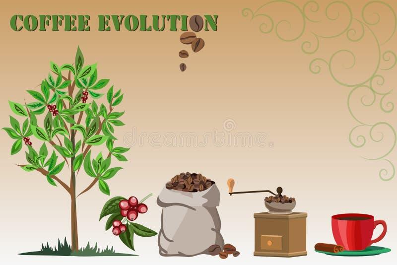 Kawowy evoltion royalty ilustracja