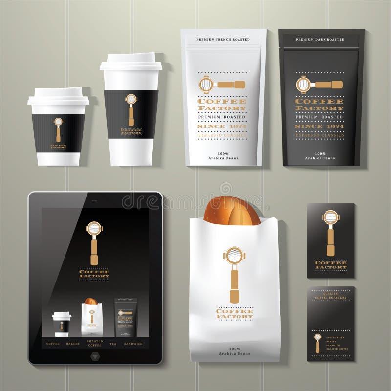Kawowy fabryczny rocznik korporacyjnej tożsamości szablonu projekta set ilustracja wektor