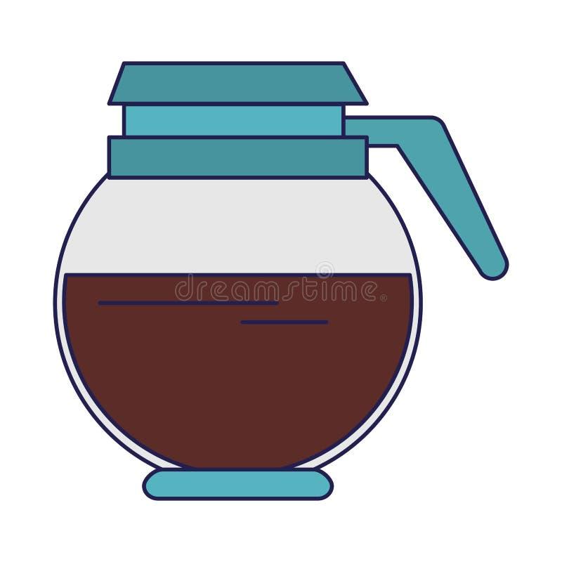 Kawowy garnek folować gorącego napoju odosobnione niebieskie linie royalty ilustracja