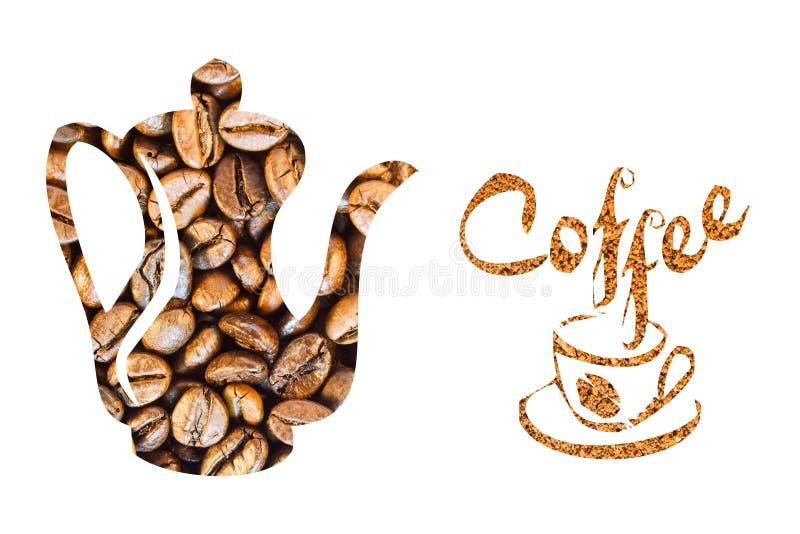 Kawowy garnek i filiżanka robić kawowe fasole na białym tle fotografia stock