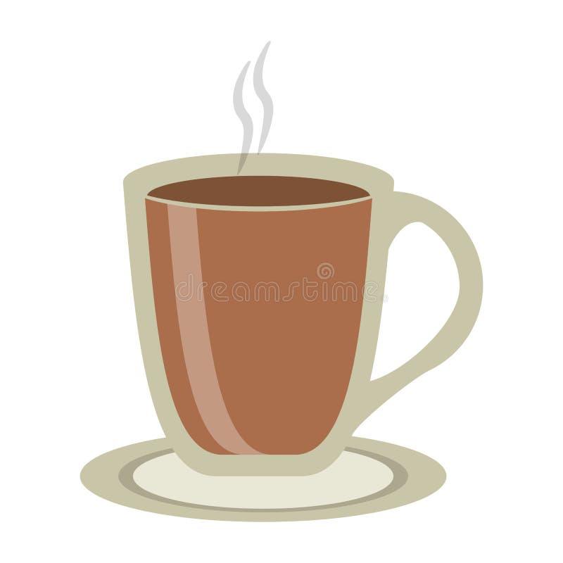 Kawowy gorący napój w szklanej filiżance ilustracja wektor