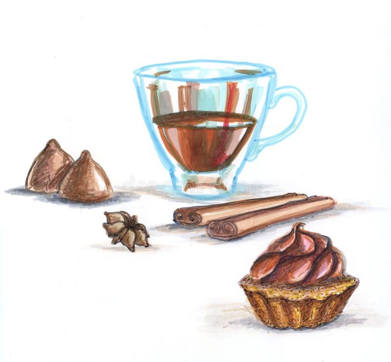 kawowy i cynamonowy kardamon royalty ilustracja