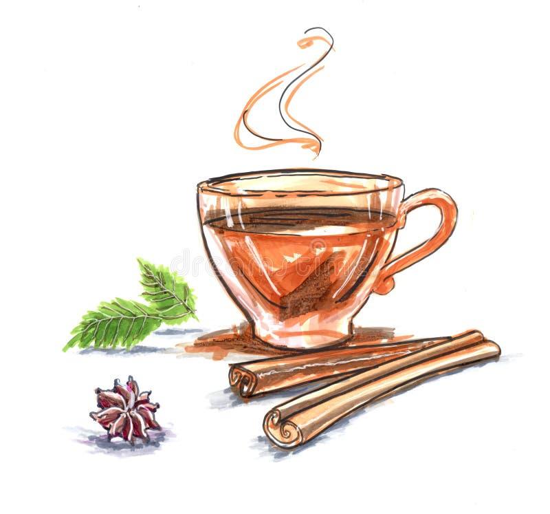 kawowy i herbaciany cynamonowy kardamon ilustracja wektor