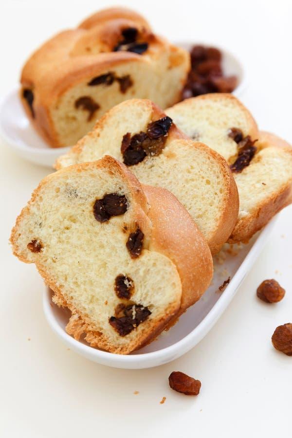 Kawowy i słodki chleb z rodzynkami zdjęcie stock
