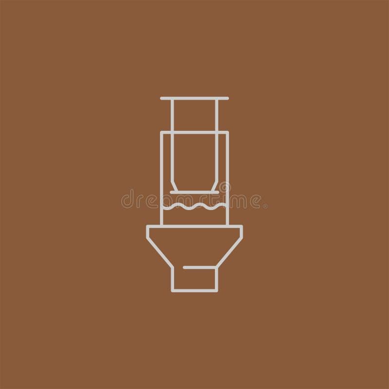 Kawowy ikona emblemat, liniowa cukierniana odznaka ilustracja wektor
