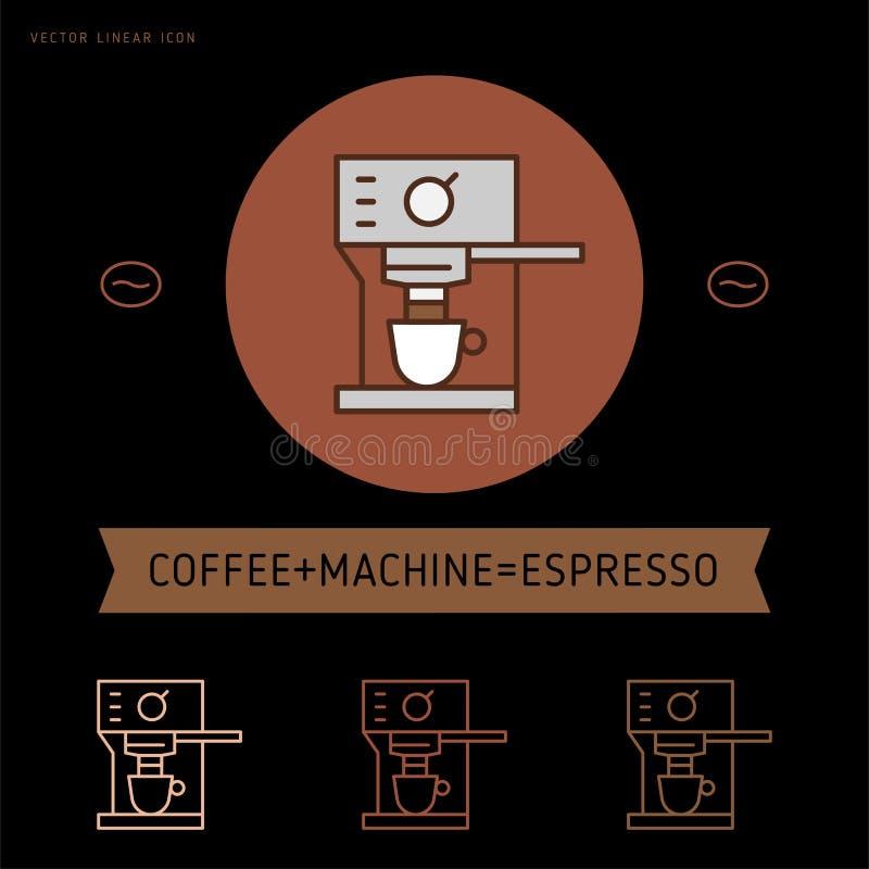 Kawowy ikona emblemat, liniowa cukierniana odznaka ilustracji