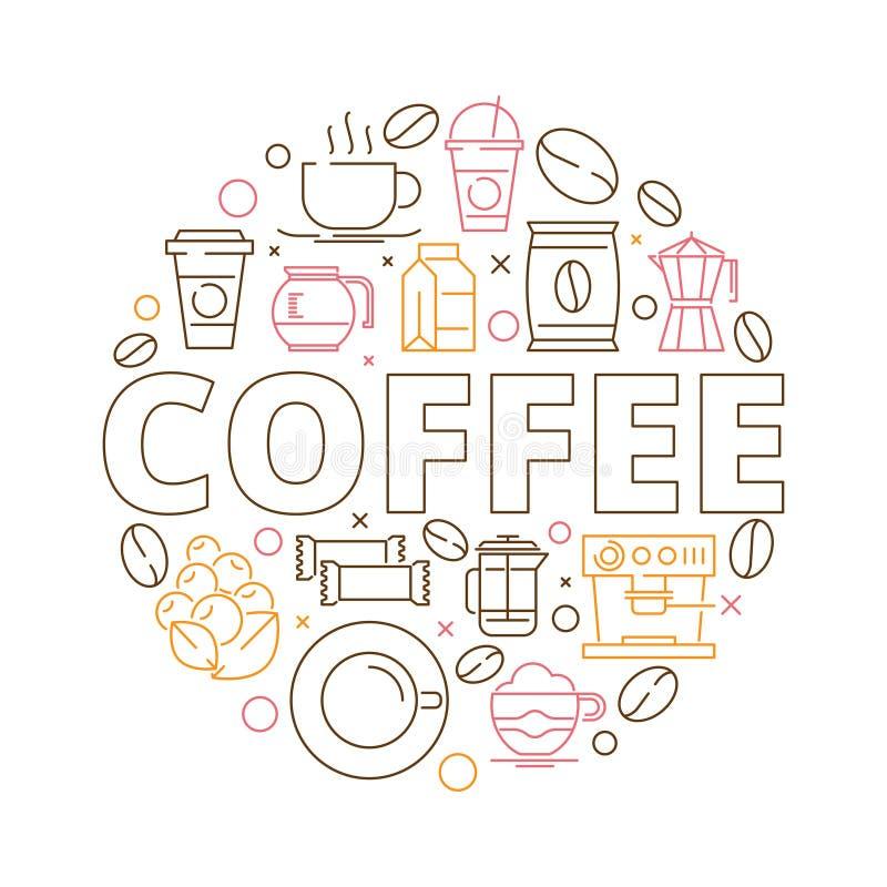 Kawowy ikony tło Okręgu kształt od kawowego adry kawy espresso młynu napoju filiżanek babeczek gorącego wektoru cienkiego kreskow royalty ilustracja