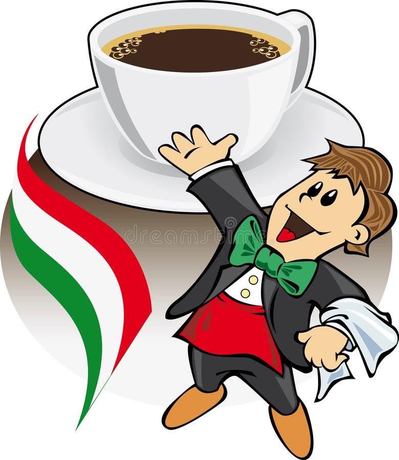 kawowy kawa espresso włocha kelner ilustracji