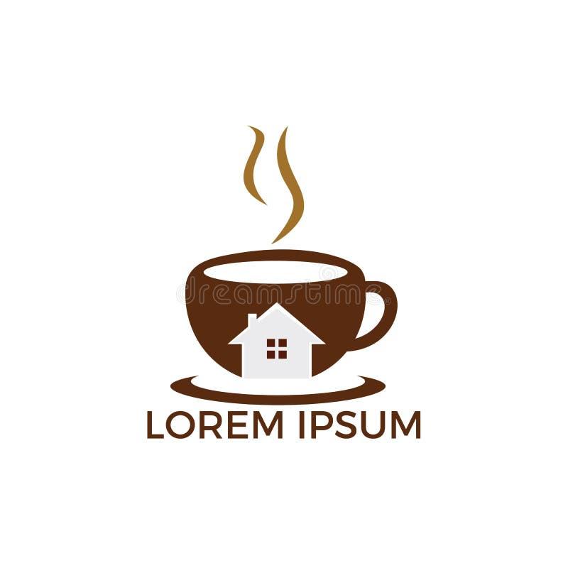 Kawowy kawiarnia domu logo royalty ilustracja