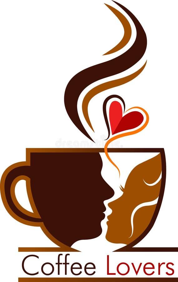 Kawowy kochanka logo ilustracja wektor