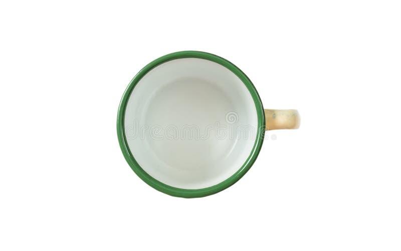 Kawowy kubek, emalia, zieleń, z odgórnym widokiem, ciie out, odizolowywa na białym tle obrazy royalty free