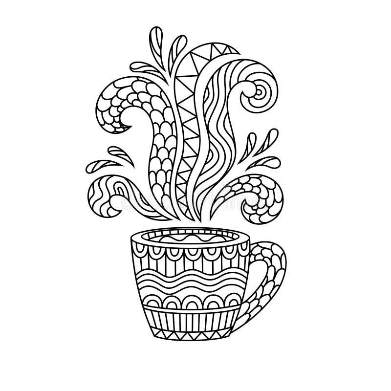 Kawowy kubek lub herbaciana filiżanka z abstraktów wzorami w stylu zen ilustracja wektor