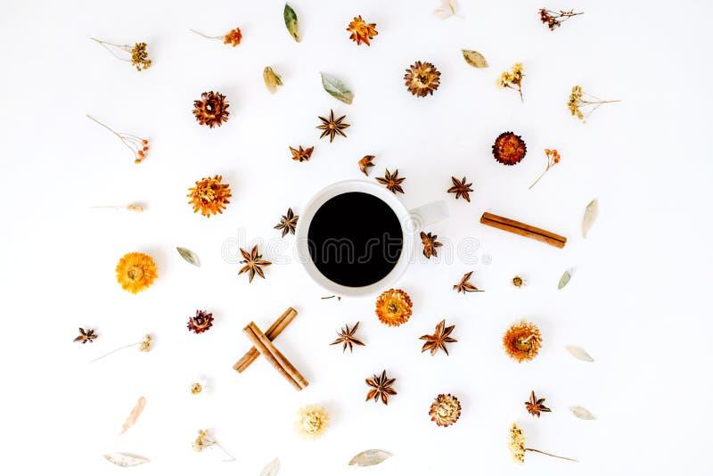 Kawowy kubek z cynamonem, kardamonem i suchymi sezonowymi kwiatami, zdjęcie stock