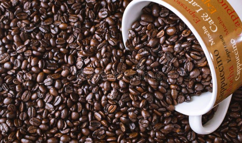 Kawowy kubek z rozlewającym całym zmrokiem piec kawowe fasole obrazy stock