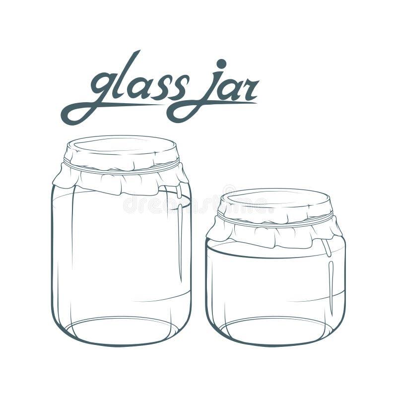 kawowy kukurudz szklany słój rozlewający stół Słój ręka rysująca Literowanie szklany słój ilustracja wektor