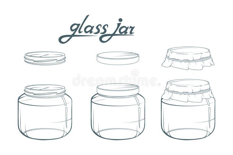 kawowy kukurudz szklany słój rozlewający stół Słój ręka rysująca Literowanie szklany słój ilustracji