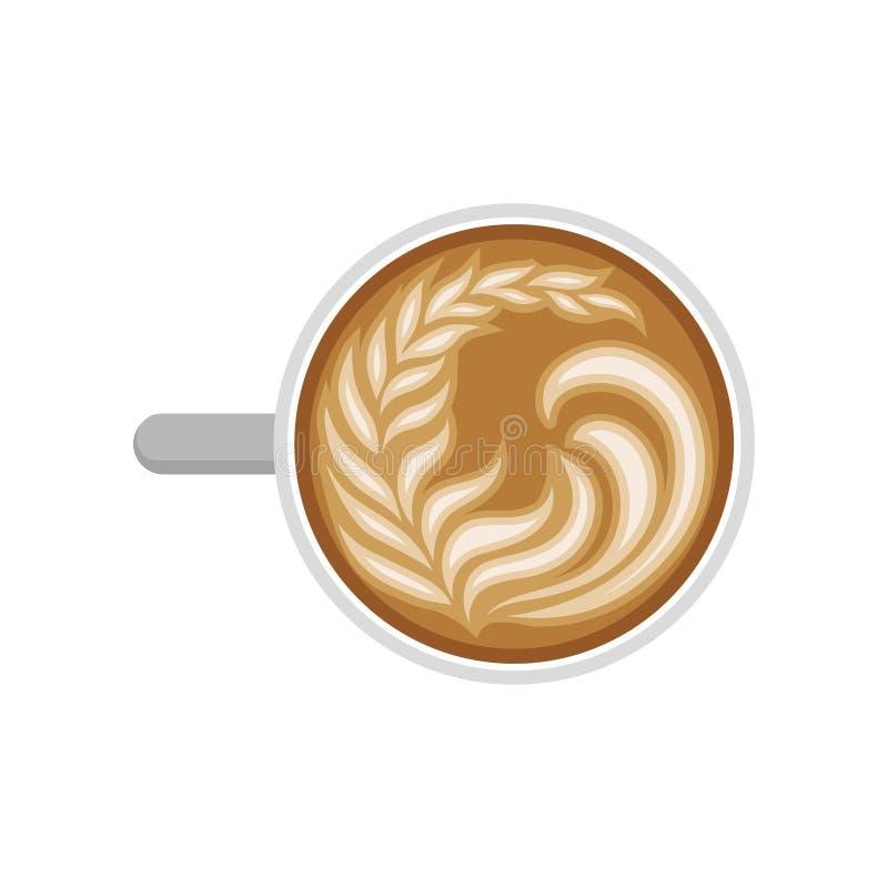 Kawowy latte z mleko pianą w kształcie liść Filiżanka gorący cappuccino, odgórny widok Smakowity ranku napój Płaski wektorowy pro royalty ilustracja