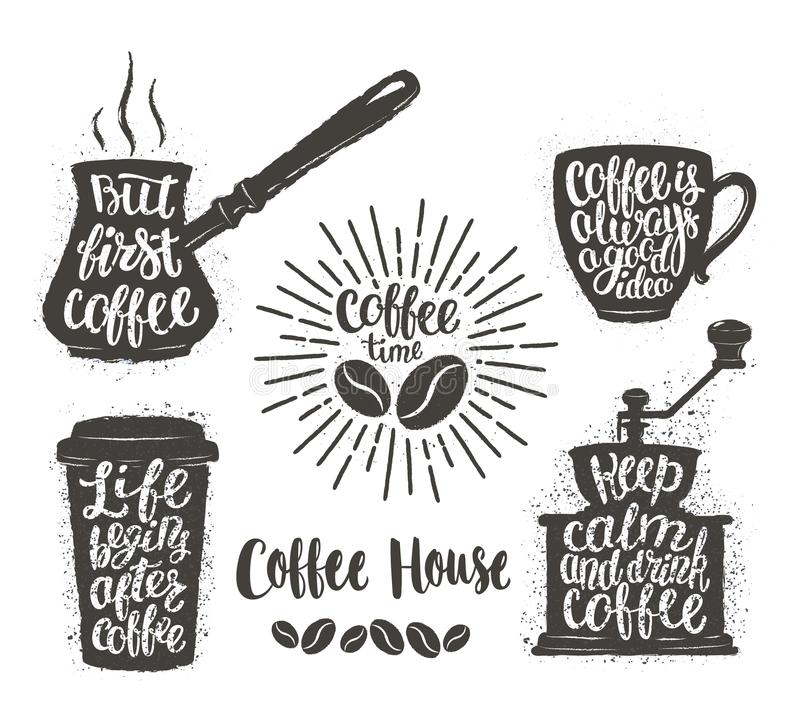 Kawowy literowanie w filiżance, ostrzarz, garnek kształtuje Nowożytne kaligrafii wycena o kawie Rocznik kawy przedmioty ustawiają ilustracja wektor