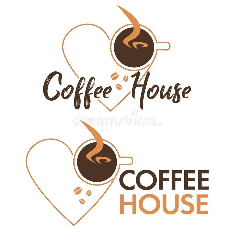 Kawowy loga projekta wektoru szablon Gor?cy logo sklepu z kaw? projekta ilustracyjni elementy wektorowi Stylizowana fili?anki iko royalty ilustracja