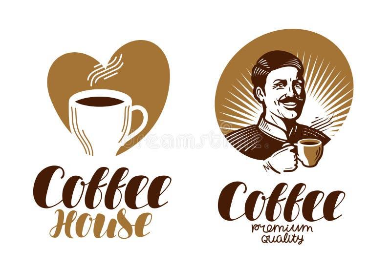 Kawowy logo Kawiarnia, kawa espresso, coffeehouse, bufet ikona lub etykietka, Literowanie wektoru ilustracja ilustracja wektor
