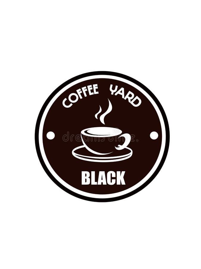 Kawowy logo na lekkim tle ilustracji