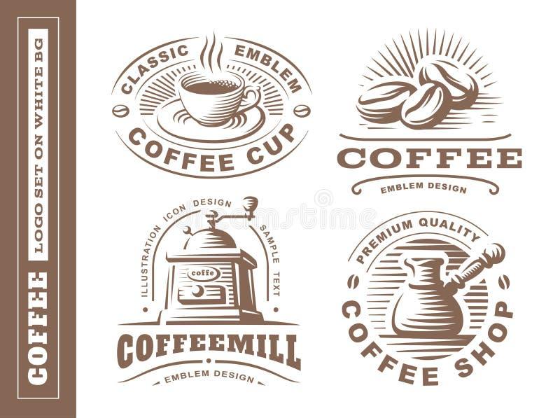 Kawowy logo - wektorowa ilustracja, emblemat ustawiający na białym tle royalty ilustracja