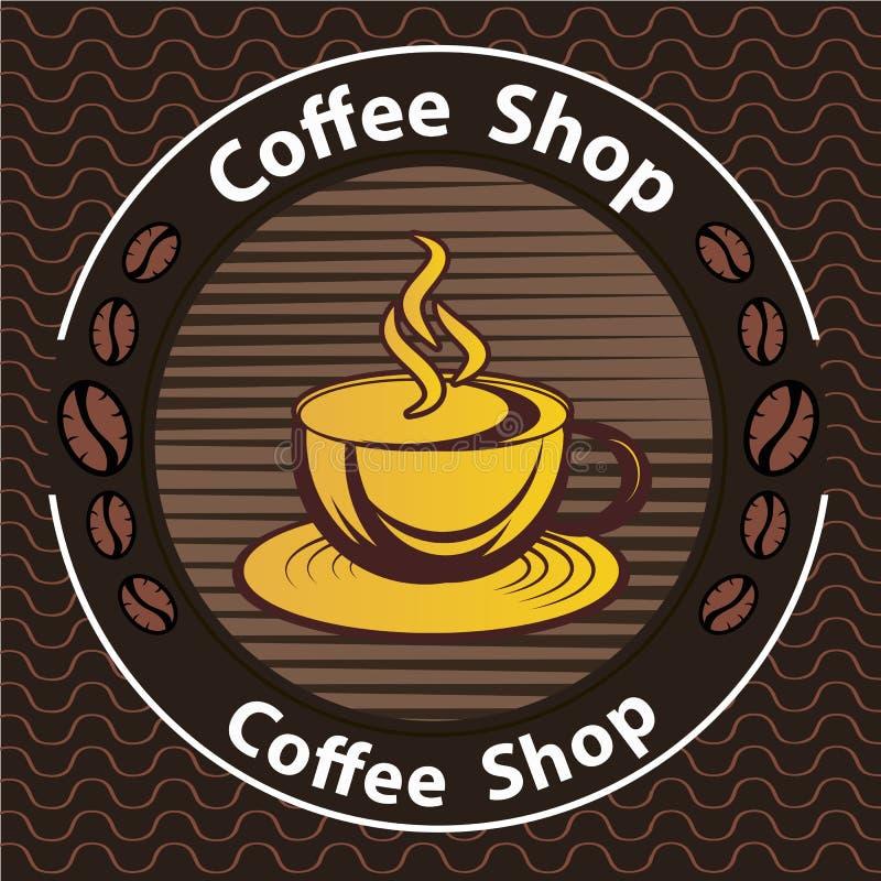 Kawowy logo - wektorowa ilustracja, emblemata ustalony projekt na czarnym tle ilustracja wektor