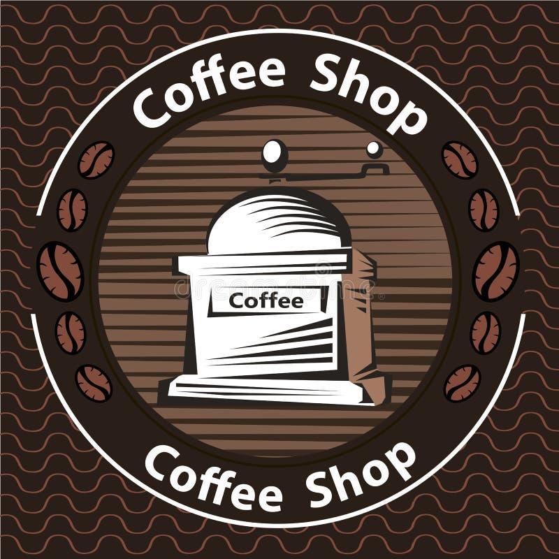 Kawowy logo - wektorowa ilustracja, emblemata ustalony projekt na czarnym tle royalty ilustracja