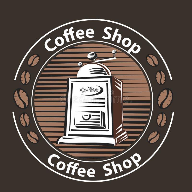 Kawowy logo - wektorowa ilustracja, emblemata ustalony projekt na czarnym tle ilustracji