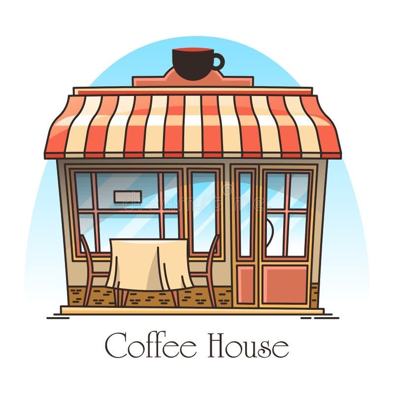 Kawowy lub herbaciany domowy budynek Bufet, kawiarnia ilustracji