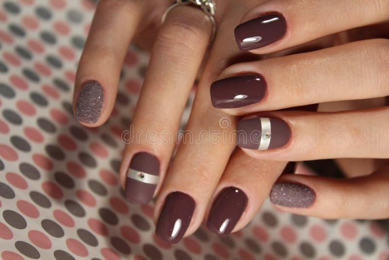 Kawowy manicure'u projekt zdjęcie stock
